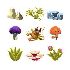Cartoon Mushrooms, Stones, and Bushe by TopVectors on @creativemarket