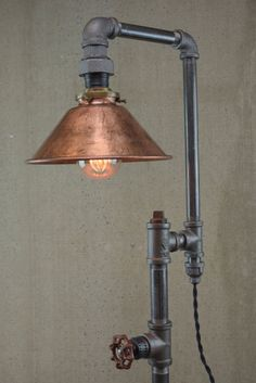Edison Table Lamp - Industrial Furniture - Iron Pipe Lamps - Rustic Light - Copper Shade - Model No. Rustic Lighting, Lamp Design, Lamp, Industrial Table Lamp, Rustic Lamps, Edison Table Lamp, Diy Lamp, Bedroom Lamps, Light Copper