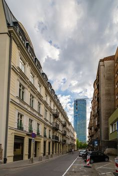 Two sides (old & new) of Prozna street, Warsaw, Poland