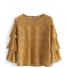 Chicwish Mustard Lace Top with Tiered Sleeves ($36) ❤ liked on Polyvore featuring tops, yellow, lace sleeve top, flutter sleeve top, lace top, retro tops and flounce tops