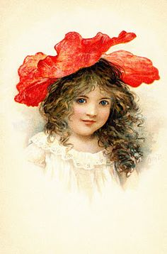 Collage Candy: Vintage postcards: Girls with flower hats #1