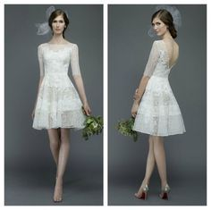 Watters short lace wedding dress with 3/4 sleeves