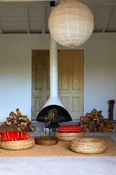 Preserve and Gather: An Autumn Dinner in Bovina, NY Modern Interior Design, Interior Styling, Interior And Exterior, Interior Decorating, Cozy Fireplace, Fireplace Design, Cabana, Living Room Decor, Living Spaces