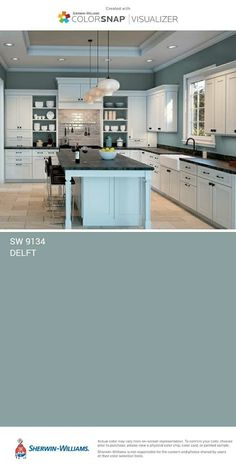 67 Trendy Kitchen Paint Colors With Dark Wood Sherwin Williams Room Colors, Wall Colors, House Colors, Colours, Kitchen Paint Colors, Paint Colors For Home, House Painting, Colorful Interiors, Home Remodeling