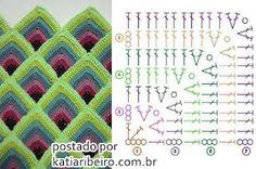 Colcha de Crochê com Motivos - Katia Ribeiro Crochê Moda e Decoração