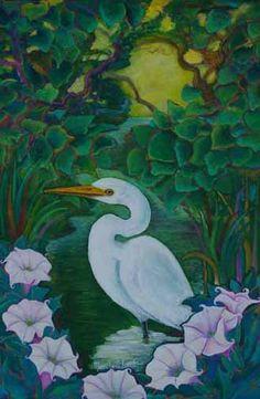 Crane and Sacred Datura pintora mexicana Marcela Lubian