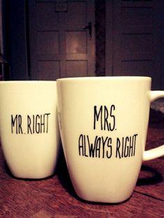 Mr.Right - Mrs Always Right..Hochzeitsgeschenk von Jolié du monde auf DaWanda.com