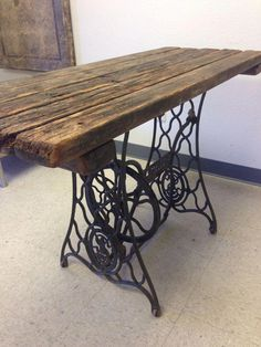 Great Cost-Free singer sewing table Strategies Repurposed Singer Sewing Machine Table by ErazioDesignGroup Repurposed Furniture, Rustic Furniture, Painted Furniture, Diy Furniture, Modern Furniture, Victorian Furniture, Furniture Showroom, Furniture Dolly, Street Furniture