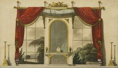 An poster sized print, approx (other products available) - Decorating scheme for window curtains in a noble home. Date: 1800 - Image supplied by Mary Evans Prints Online - Poster printed in the USA Vintage Wall Art, Vintage Walls, Fine Art Prints, Canvas Prints, Framed Prints, Regency Furniture, Vintage Furniture, Georgian Furniture, Furniture Design