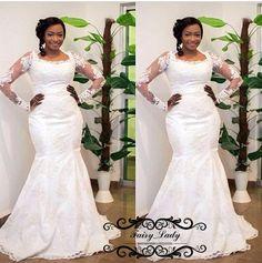 9fe6bbfbecea1 African Plus Size Wedding Dresses 2018 Sheer Long Sleeves Mermaid Lace  3D-Floral Appliques Vestido De Noiva Bridal Dress Gowns