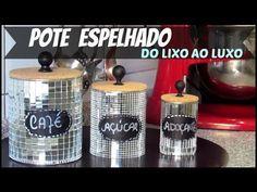DIY| POTE ESPELHADO DO LIXO AO LUXO | DIA DAS MÃES |#HOMEEDECORA - YouTube Tin Can Crafts, Fun Projects, Decoupage, Life Hacks, Coffee Maker, I Am Awesome, Recycling, Good Things, Canning