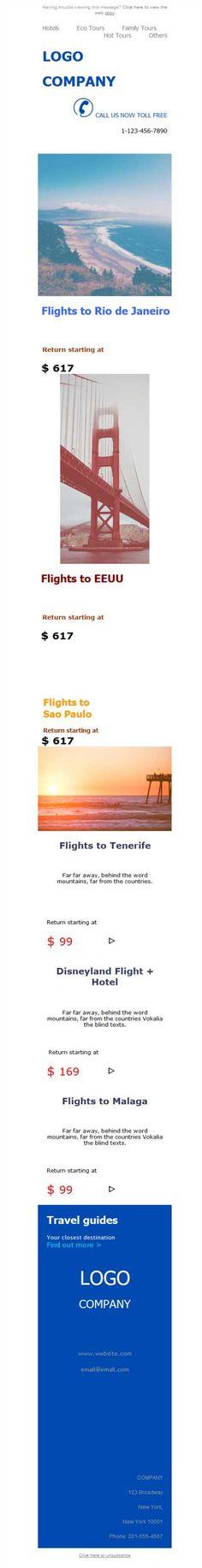 ¿Tienes una agencia de viajes? Mailify pone a tu disposición las mejores plantillas newsletters para que informes a todos tus contactos. ¡A volar!