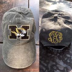 fd67ae86a7 Black Faded Mizzou Hat Fade To Black, Monogram Initials, Baseball Hats,  Baseball Caps