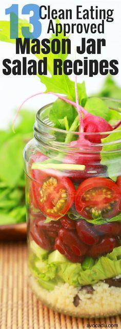 13 Clean Eating Approved Mason Jar Salad Recipes   Avocadu.com  ___________ http://TOMAxALEX.com/