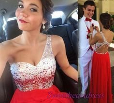 Beaded one shoulder red chiffon prom dress for teens, prom dresses long #coniefox #2016prom