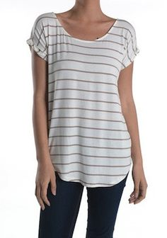 Simple Taupe Striped Top | SexyModest Boutique