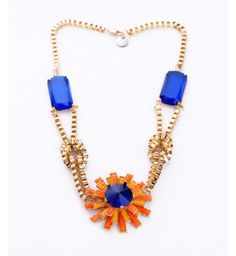 Fashion accessories gem inlaying flower necklace from bemodia.com