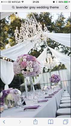 Purple white grey wedding centrepiece