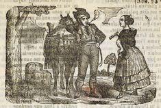Xilografía alusiva en cabecera de un hombre con ropas de bandolero de pie, apoyado en su caballo y fumando y de una mujer de pie con abanico.