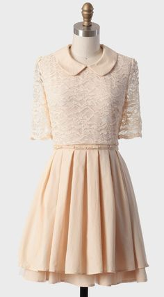 Peter Pan Collar Dress -- I think it might be better reversed, lace skirt, solid top, lace collar