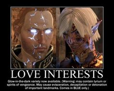 Dragon Age 2 features glow-in-the dark love interests that may randomly lash out at you and try to hurt you! But we love them anyway! #Anders #Fenris