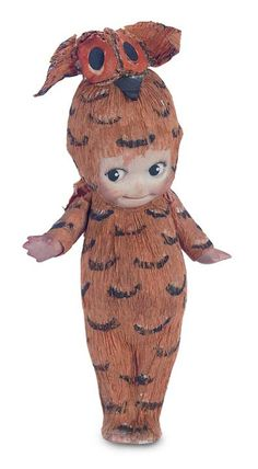 Rare German All-Bisque Kewpie in Original Crepe Paper Owl Costume. http://Theriaults.com