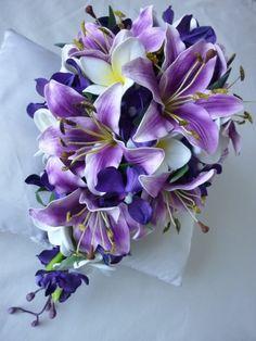 cascading purple weding bouquets | Purple Cascade Bridal Bouquet artificial wedding bouquet