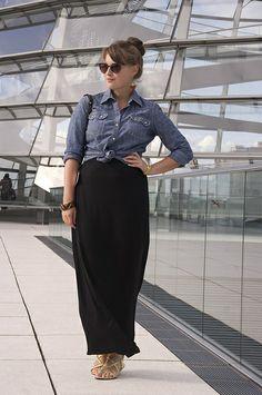 chambray shirt + black maxi