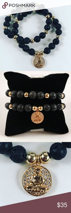 Women lava rock gold plated cz buddha bracelet set Women beaded bracelets set . Both Fits most , 5.5 to 7.5 inch wrist. Handmade by me , never worn by anyone. Made with lava rock beads. Yellow gold plated beads and yellow gold plated with cubic zirconia buddha charm . I ship fast!!✈️ Bundle and save! ( 10 % off bundles) Any questions let me know! No transactions outside Poshmark!! Jewelry Bracelets