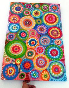 Peinture abstraite / ORIGINAL peinture / géométrique des formes / couleurs cercles / bleu rouges jaunes verts roses couleurs orange. Maison pouce dart