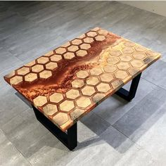 Check out this unique table design by @kochut_wood! Would love to hear your thoughts on this piece!! #Epoxy #Table #HandMade #Creative #HoneyComb #Wood #WoodShop