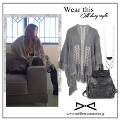 #WearThis: from office to off-duty look.  #HowTo: Replace the blazer with an elegant poncho and pair it with a backpack. Voila! #poncho #winter_look #off_duty_look #backpack #trendy #stylish #boho_style #boho