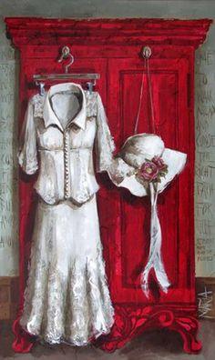 Wit pakkie op rooi kas the Showroom Art Gallery
