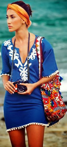 Cover-Up Outfit Ideas – Glam Radar embroidered tunic dress - blue and white - deep v neckline - longer sleeves. Little too short for me.embroidered tunic dress - blue and white - deep v neckline - longer sleeves. Little too short for me. Fashion Mode, Look Fashion, Womens Fashion, Beach Fashion, Fashion 2018, Dress Fashion, Latest Fashion, Suit Fashion, Bikini Fashion
