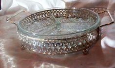Serving SIlver Dish with Glass Insert by OldVintageTreasures2 on Etsy