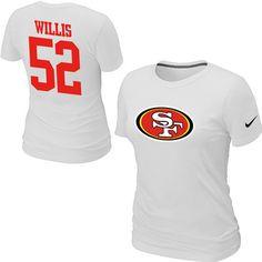 Nike San Francisco 49ers 52 Patrick Willis Name & Number Women's TShirt White