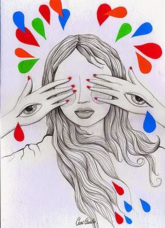 """Ver o no ver"" Ilustración técnica mixta @Cari Carito"