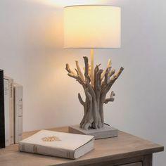 Lampada da comodino in poliresina e abat-jour in tela H 48 cm SAINT JOUAN