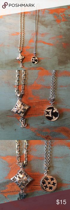 "Cute LV Pendant Necklaces Two cute pendant necklaces.  Bought at a purse party years ago and worn once. EUC.  16"" chain on both. Jewelry Necklaces"