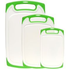 Dishwasher Safe Plastic Cutting Board Set With Non-Slip Feet and Deep Drip Juice Groove. Acrylic Polypropylene White With Lime Green a Beautiful 3 Piece Set by Dutis Kitchenware Best Cutting Board, Plastic Cutting Board, Cutting Boards, Chopping Boards, Galley Kitchen Remodel, Ranch Kitchen, Kitchen Remodeling, Remodeling Ideas, Carving Board