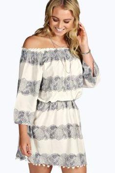 Plus Erin Off The Shoulder Pom Pom Dress at boohoo.com