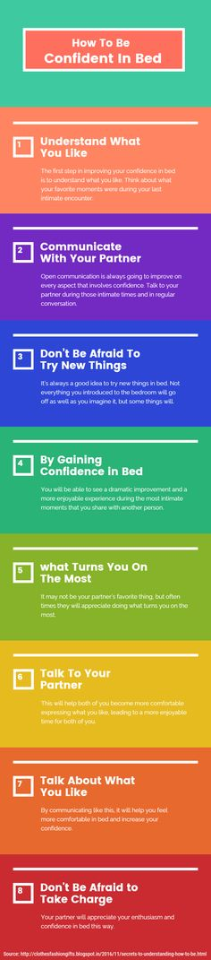 How To Be Confident In Bed -  Everyone wants to know how to improve their sex life. One of the areas that people lack most in is their confidence in bed. Read more to find out how to improve your confidence in bed below.  1. Understand What You Like 2. Communicate With Your Partner 3. Don't Be Afraid To Try New Things
