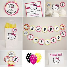 Pink & Yellow Hello Kitty Birthday Party Package- all items also sold individually