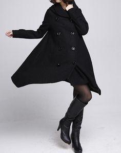 Double breasted Hoodie wool coat/ winter wool coat/ hood by MaLieb