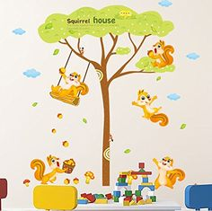 Ferris Store DIY Cute Cartoon Squirrel House Family Animals Baby Room Decor PVC Waterproof Home Wall Stickers 606x618 *** To view further for this item, visit the image link.