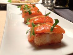 Salmon with Crispy Sushi Rice, Chipotle Mayo and Ponzu