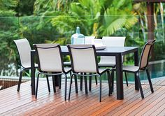 7pce Sunrise 1.55 x 0.91m White Glass & Zeno Black/Fawn - The Outdoor Furniture Specialists