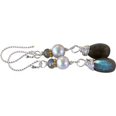 Flash Labradorite- Cultured Gray Potato Pearl Gemstone Earrings- Handmade Wire Wrapped Jewelry Gift Her