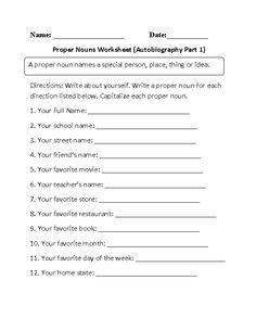 AutobiographyProper Nouns Worksheet Part 1 Beginner