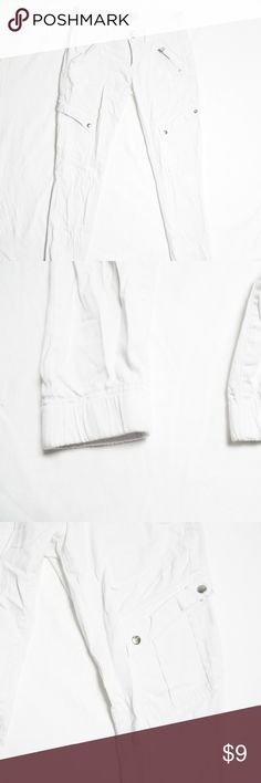 White Cargo Jogger - White Cargo  - Jogger Fit  - Font and Back Pockets - Silver Buttons and Zipper Front Pocket - Soft Fabric Jolt Pants Track Pants & Joggers